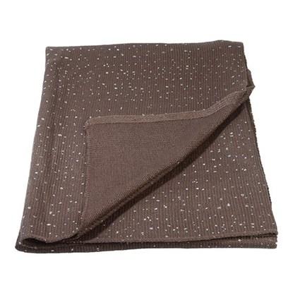 Pletená deka hnědá s třpytkami_0