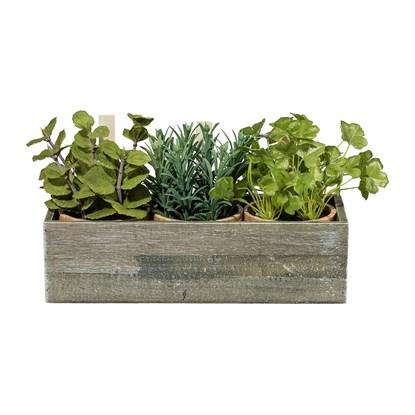 Umělé bylinky 3 ks v dřevěném květináči_0