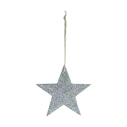 Hvězda na zavěšení GLITTER 8 cm stříbrná_0