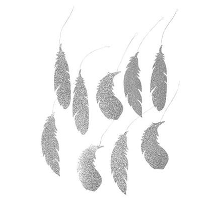 Dekorace FEATHER stříbrná 13cm_0