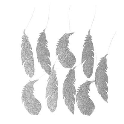 Dekorace FEATHER stříbrná 20,5cm_0