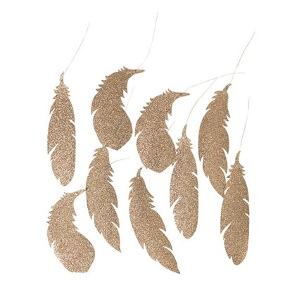 Dekorace FEATHER champagne 20,5cm_0