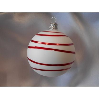 Vánoční koule 8 cm dekor proužky SET/6ks_0