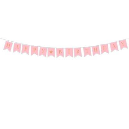 Papírová girlanda 3m Happy Birthday rosé_0