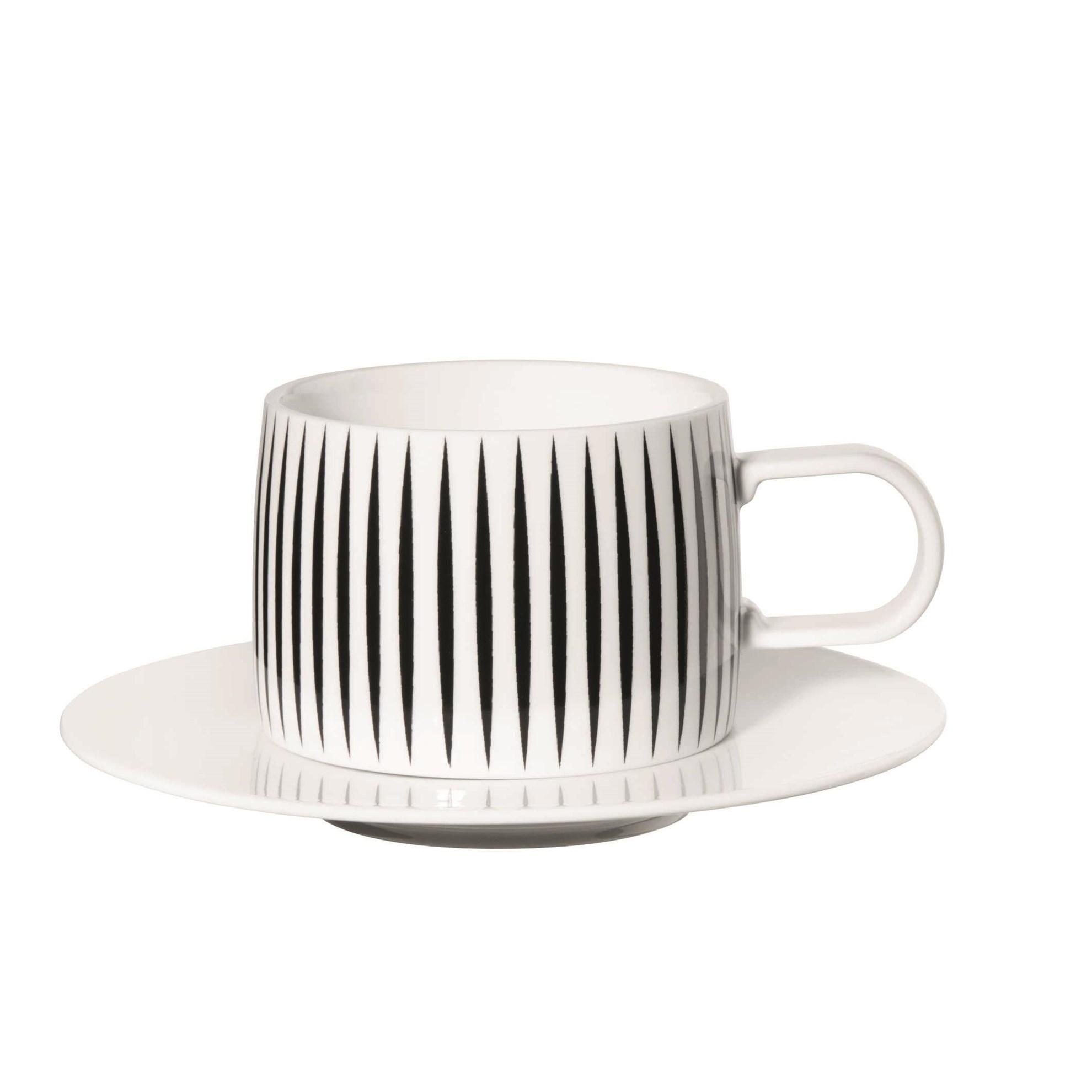 Šálek na kávu s podšálkem MUGA pruhy_0