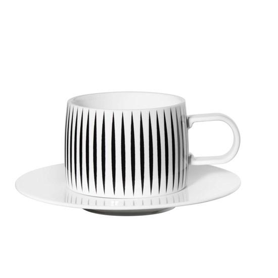 Šálek na kávu s podšálkem MUGA pruhy_1