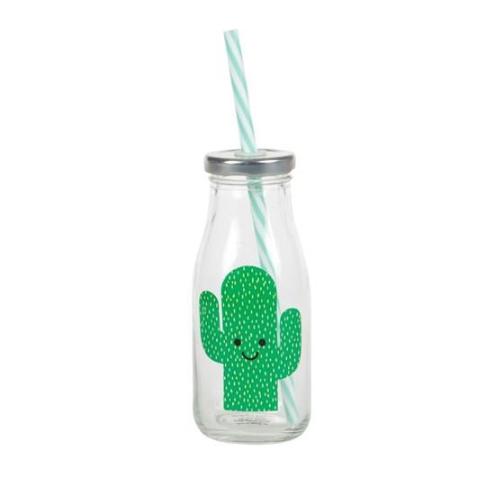 Lahvička s brčkem Happy Cactus_0