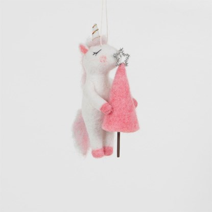Ozdoba Unicorn Holding Pink Tree Felt_0