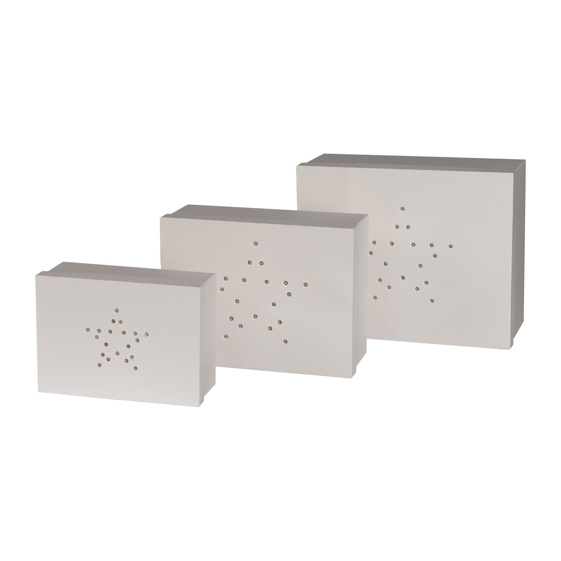 Geschenkbox rechteckig m.LED 3er Set Ste_0
