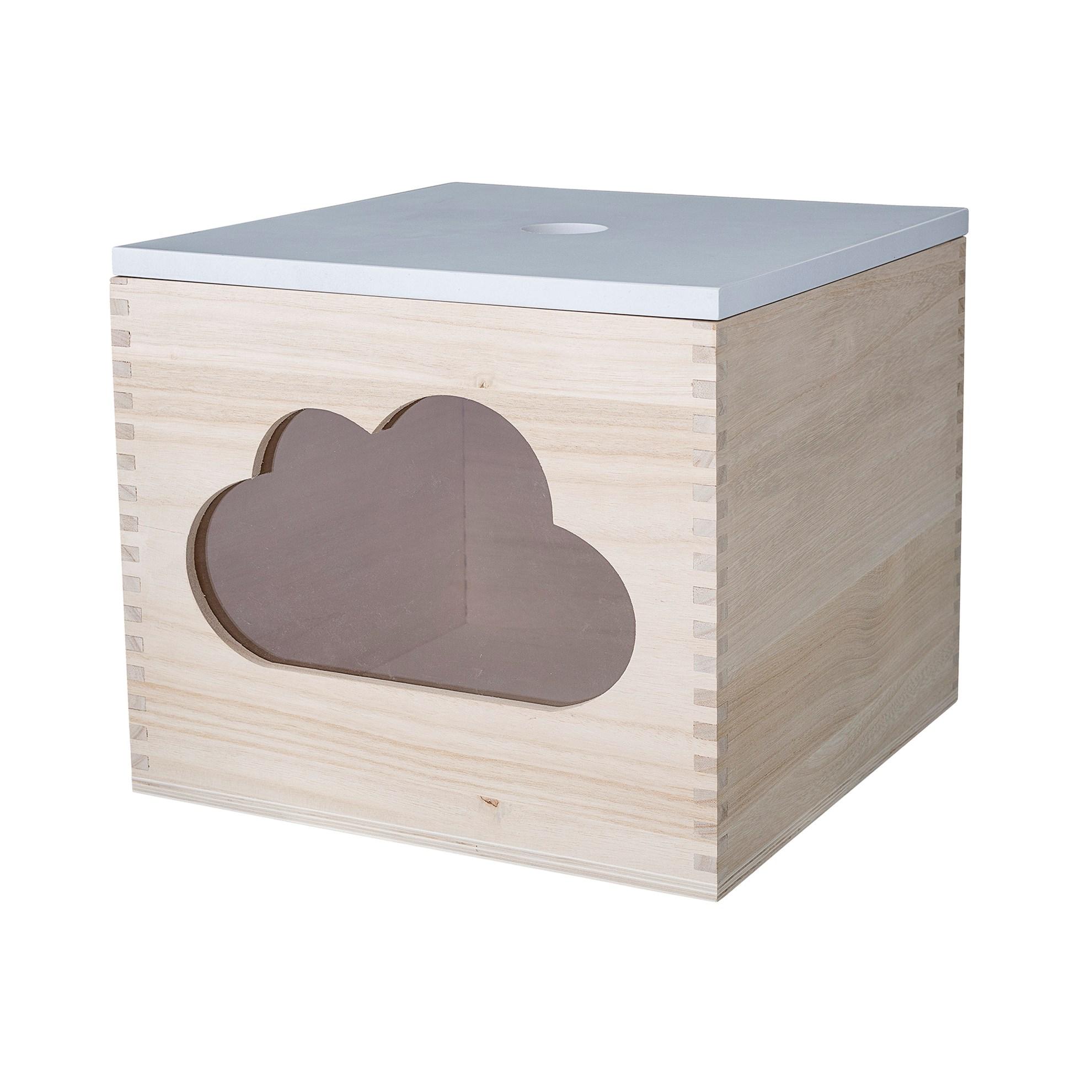 Dřevěný úložný box s motivem obláčku_3