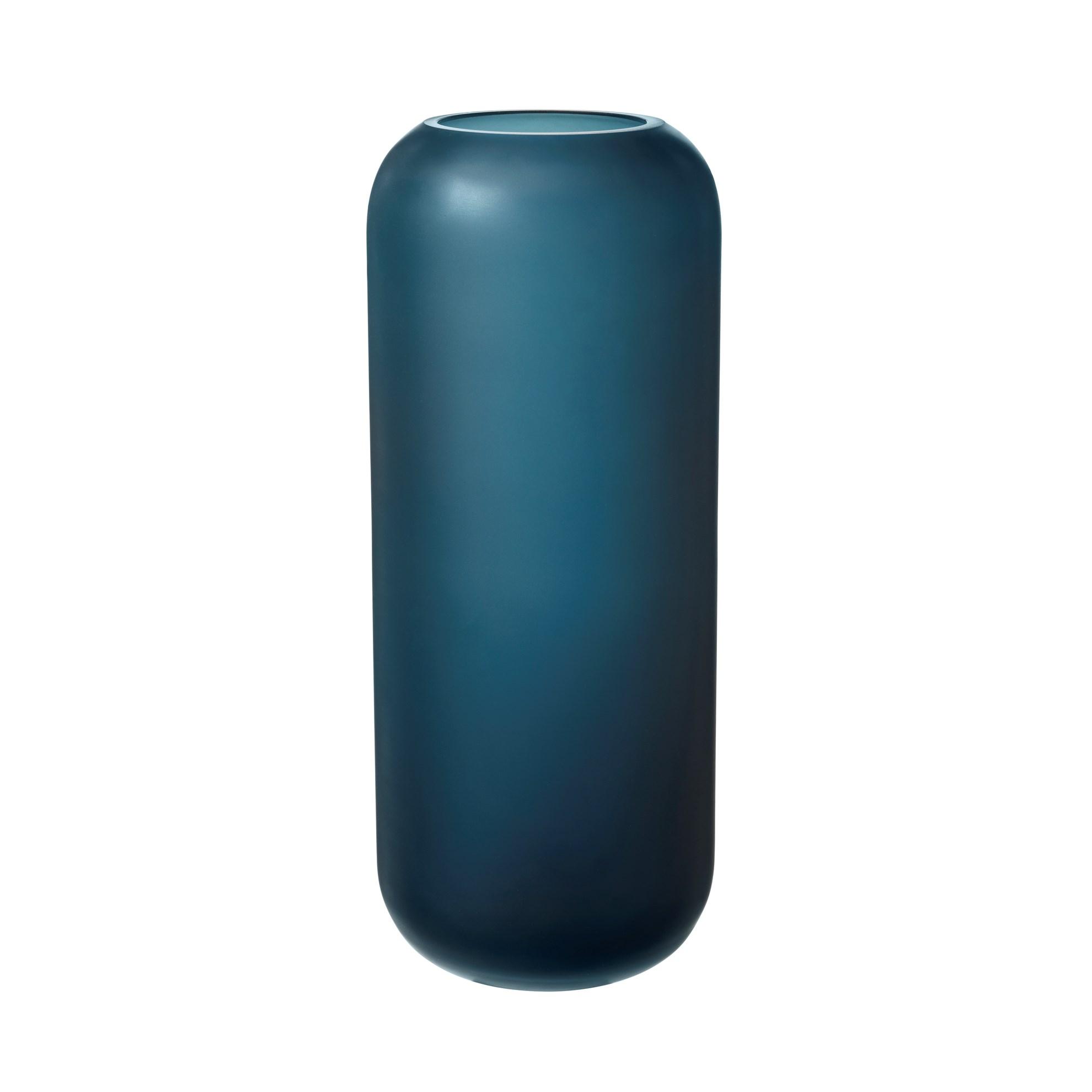Skleněná váza OVALO 30 cm modrá mat_0
