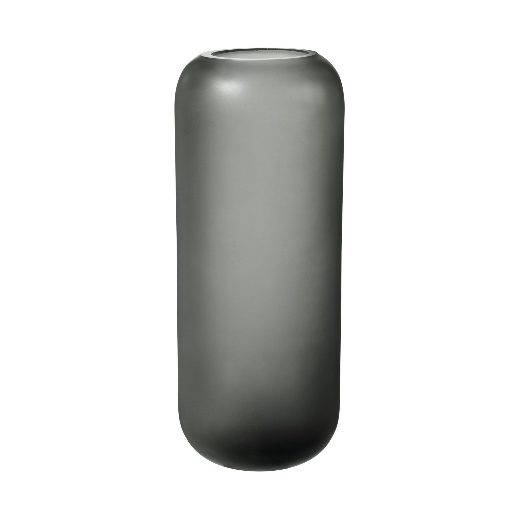 Skleněná váza OVALO 30 cm šedá mat_0