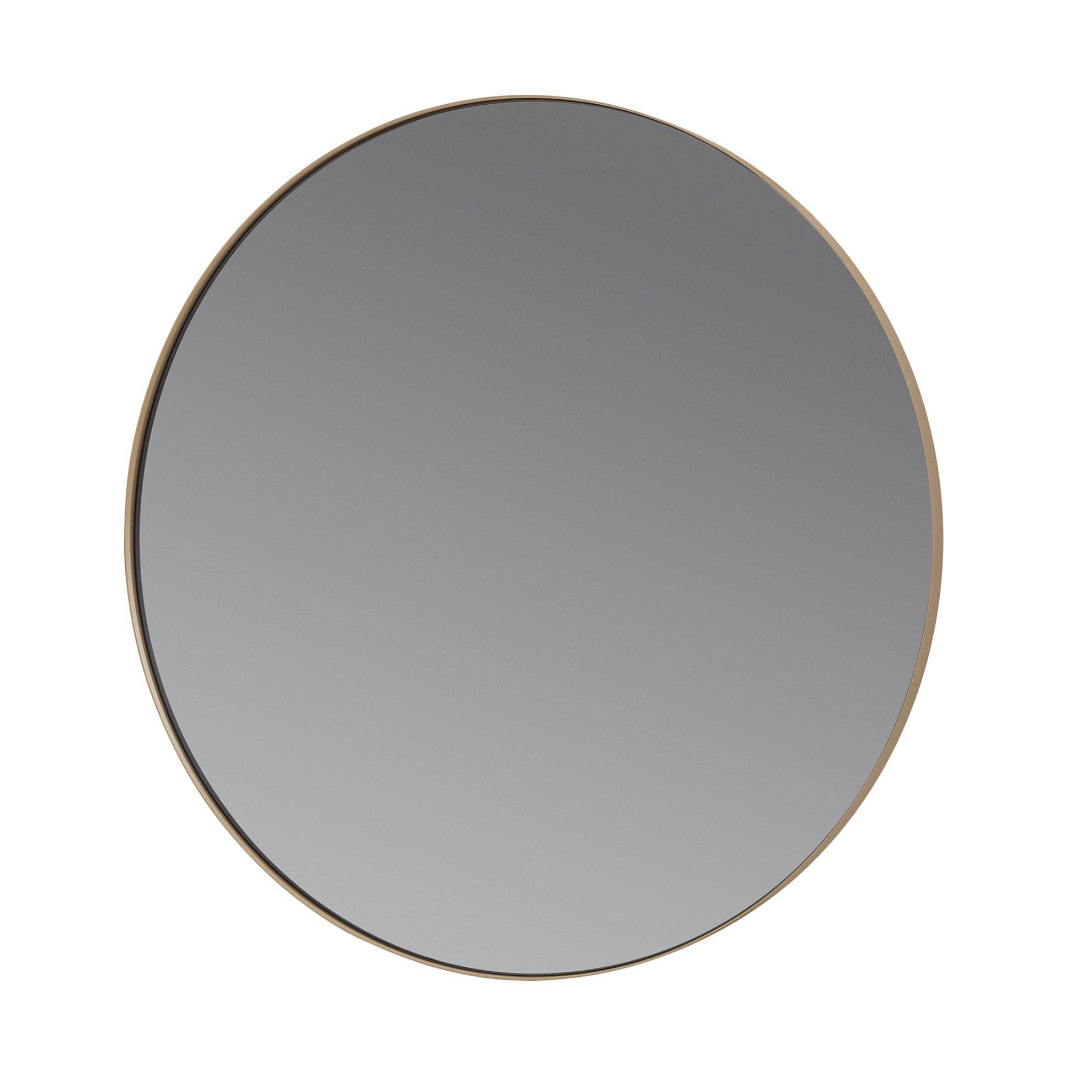 Kulaté závěsné zrcadlo RIM 80 cm světle hnědé_0