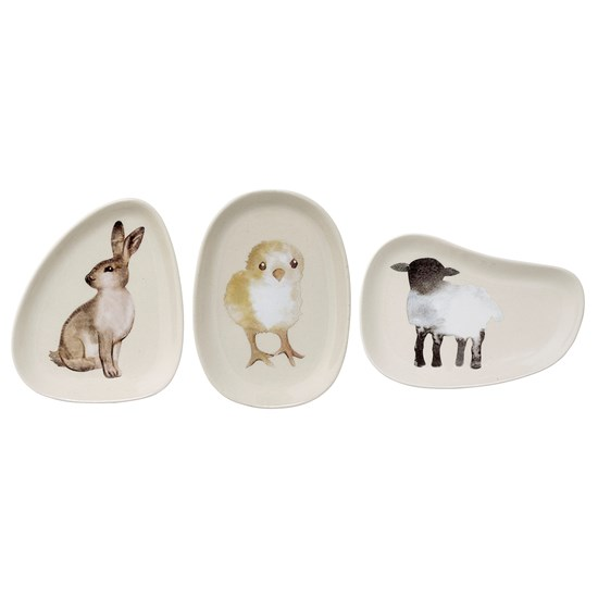 Talíř 14x10 cm bílý 3dr. zajíc/kuře/ovce_0