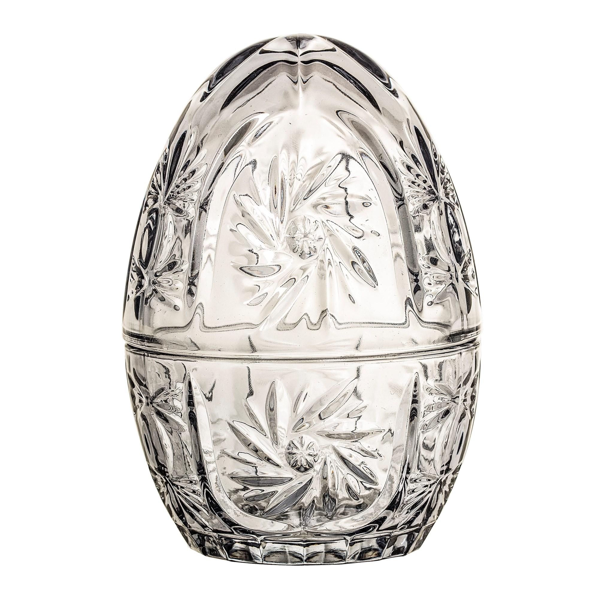 Skleněná dóza ve tvaru vejce šedá_0
