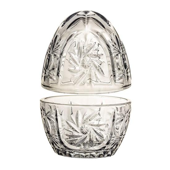 Skleněná dóza ve tvaru vejce šedá_1