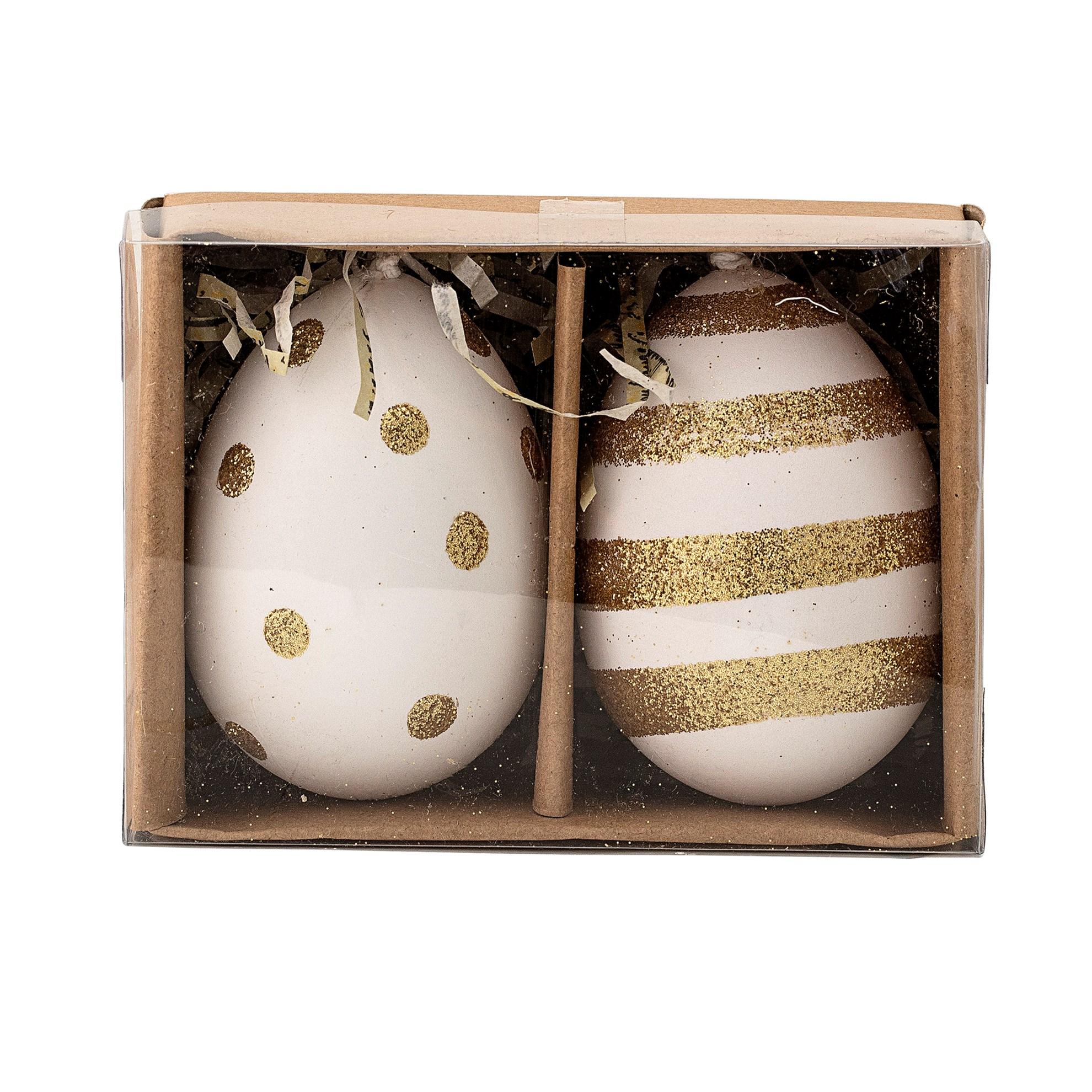 Závěsná dekorace vejce SET/2ks bílozlaté_0