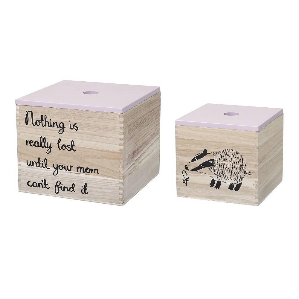 Úložné boxy s potiskem SET/2ks růžové_0