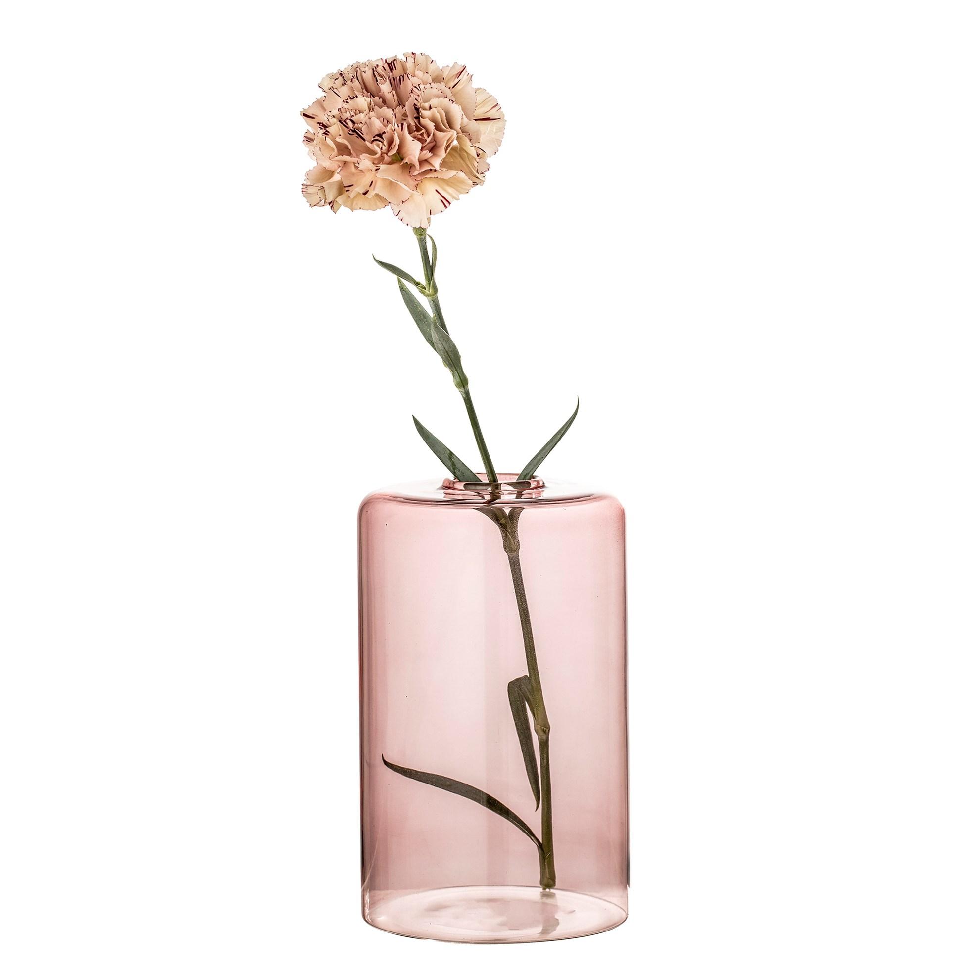 Skleněná váza 16 cm 2druhy růžová / kouř_1