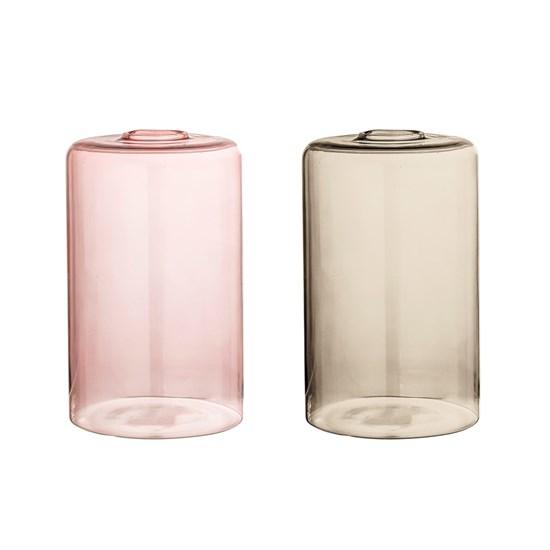 Skleněná váza 16 cm 2druhy růžová / kouř_3