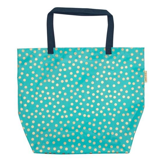 Bavlněná taška na pláž dots/aqua/gold_0