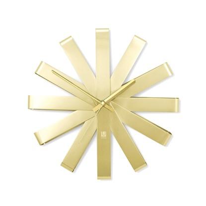 Nástěnné hodiny RIBBON 30 cm mosazné_2