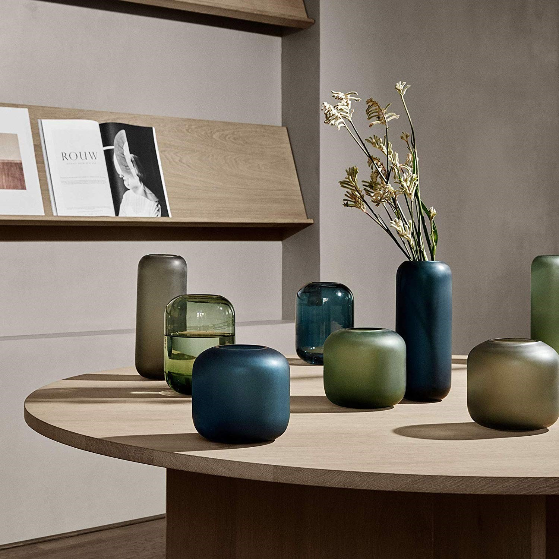 Obrázek z Skleněná váza OVALO 30 cm modrá mat