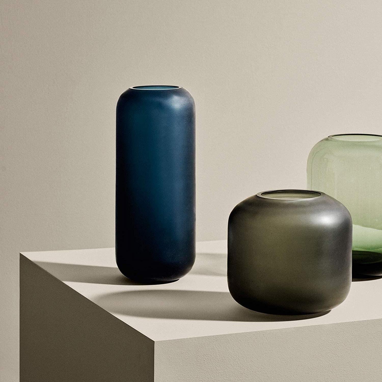 Obrázek z Skleněná váza OVALO 17 cm zelená mat