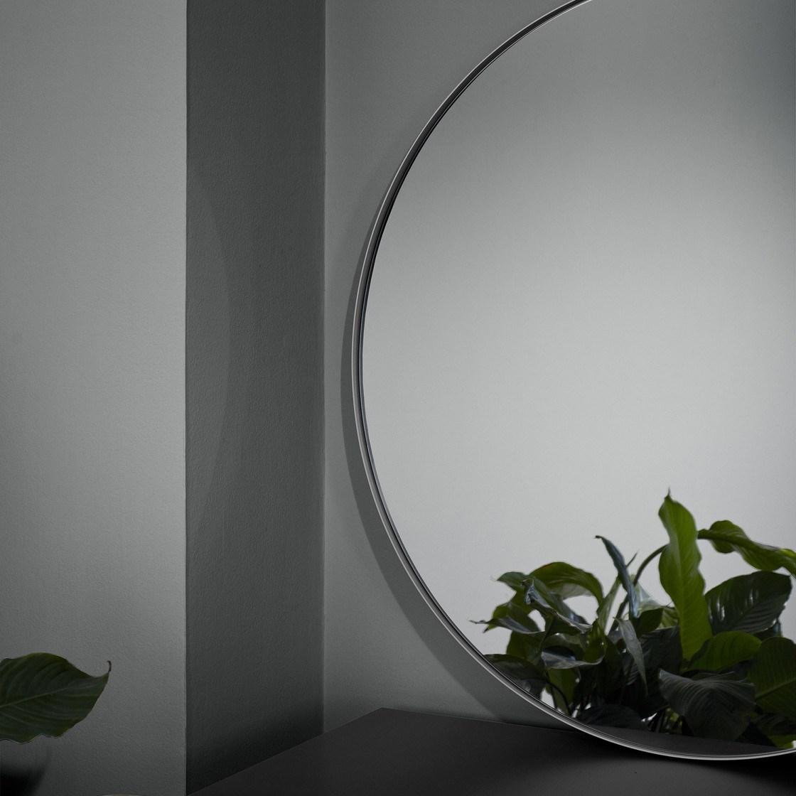 Obrázek z Kulaté závěsné zrcadlo RIM 80 cm šedé