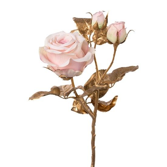 Zlatá růže s 3 květy světle růžová 48 cm_0