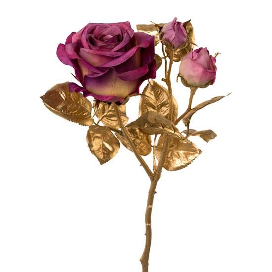 Zlatá růže s 3 květy nachová 48 cm_0