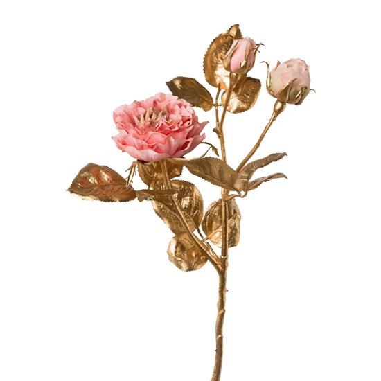 Zlatá růže s 3 květy  tm. růžová 48 cm_0