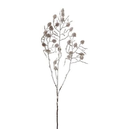 Dekorace větev se šiškami omrzlá 64 cm_0