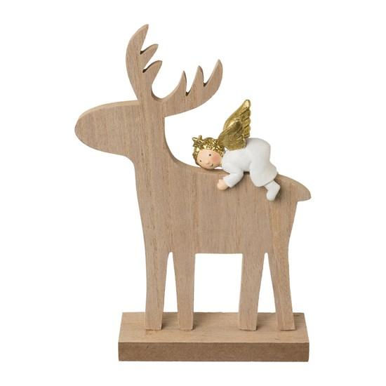 Dřevěný jelen s andělem 19,5 cm_0