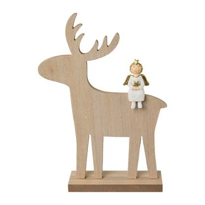 Dřevěný jelen s andělem 27 cm_0