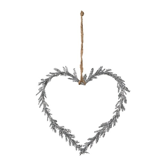 Závěsné srdce se třpytky stříbrné 15 cm_0