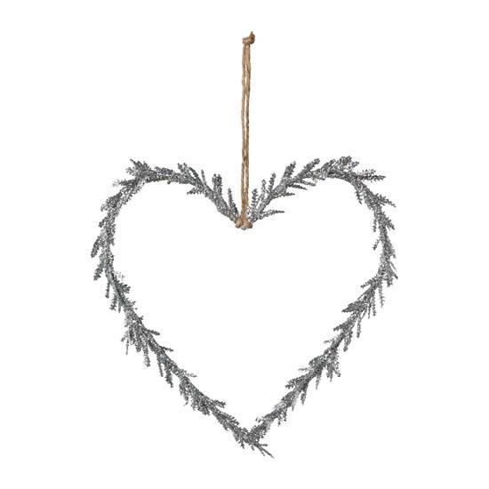 Závěsné srdce se třpytky stříbrné 25 cm_0