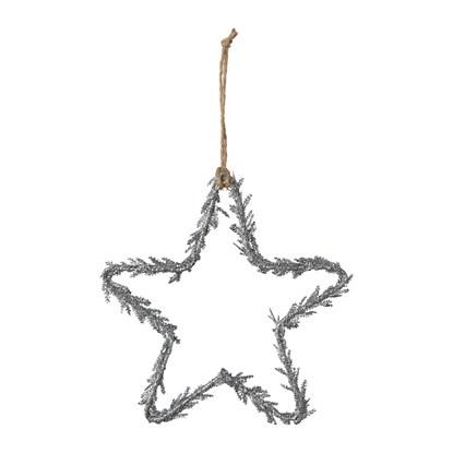 Závěsná hvězda se třpytky stříbrná 15 cm_0