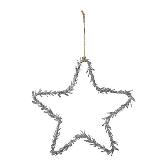 Závěsná hvězda se třpytky stříbrná 25 cm_0