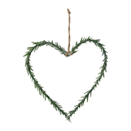 Závěsné srdce ojíněné zelené 15 cm_0