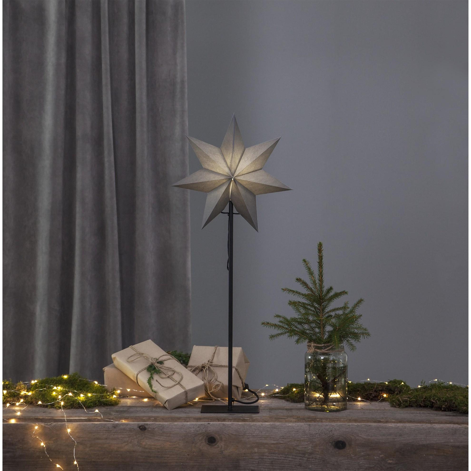 """Stolní lampa hvězda """"Ozen"""" šedá, patice E14_0"""