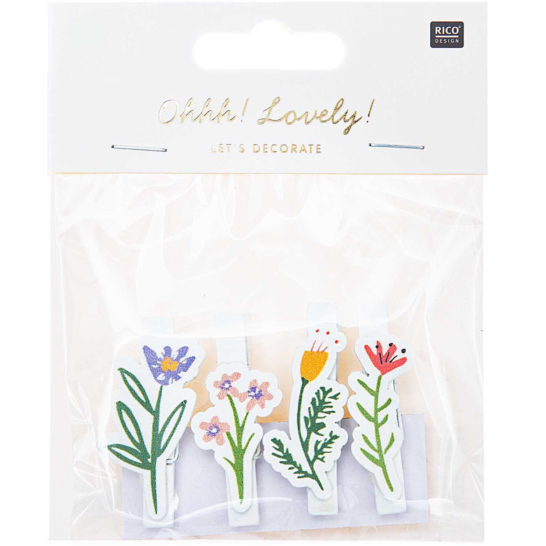 Dekorační kolíčky FLOWERS bílá SET/4 ks_0