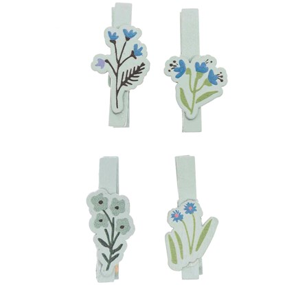 Dekorační kolíčky FLOWERS mintová SET/4 ks_1