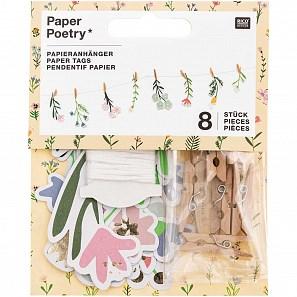 Papír. dekorace s kolíčky FLOWERS SET/8 ks_0