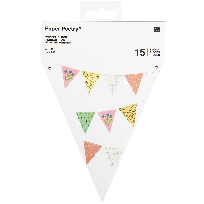 Papírová girlanda FLOWERS 15 vlajek_5