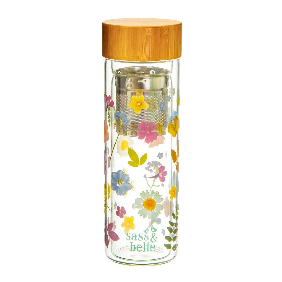 Skleněná lahev na čaj se sítkem Flowers 300 ml_0