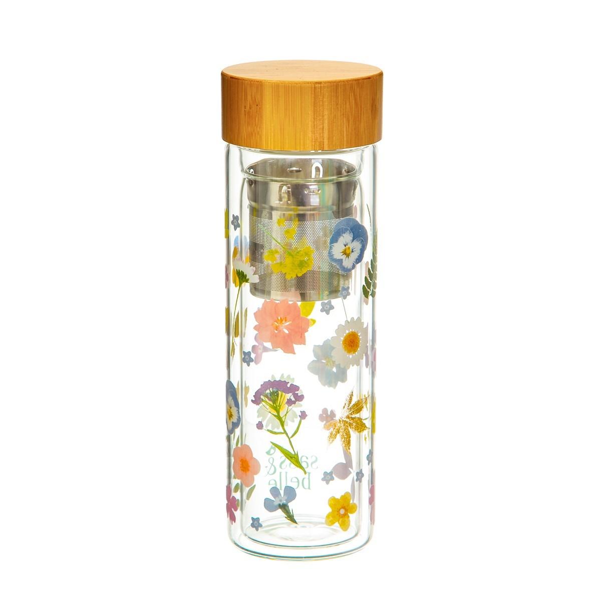 Skleněná lahev na čaj se sítkem Flowers 300 ml_1