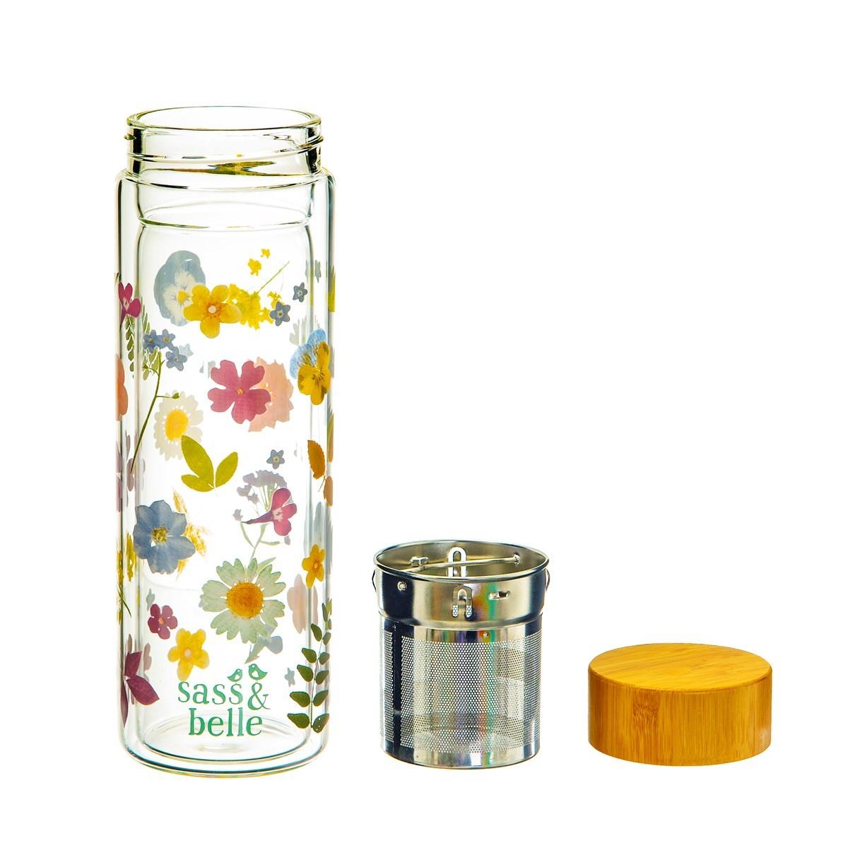 Skleněná lahev na čaj se sítkem Flowers 300 ml_2