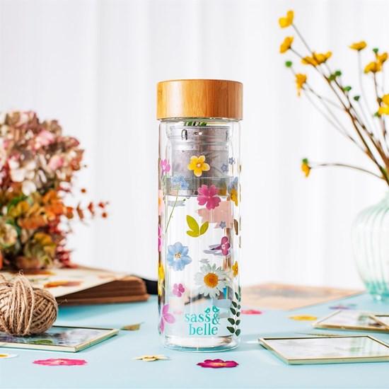Skleněná lahev na čaj se sítkem Flowers 300 ml_3