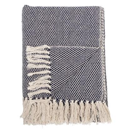 Pléd Barry z recykl. bavlny 160x130 cm modrý_1